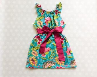 Turquoise Floral Dress - Sleeveless Dress - Girls Spring Dress - Girls Dress - Baby Girl Dress - Girls Dresses - Summer Dresses for Girls