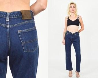 """1990's RALPH LAUREN  Dark Blue Bootcut JEANS. High Waist/1990's Grunge Dark Blue Denim. Bootcut Jeans Size S/M - Waist 30"""""""