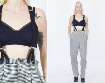 90's SUSPENDER PANTS. Houndstooth Pattern. Vintage 90's Grunge Mod Minimalist. Black White. Pleated with Pockets. Size Small/Medium