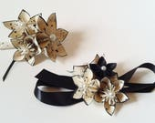 RESERVED For Carla- Date Night- Corsage & Boutonniere set + hairpiece