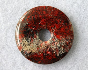 Natural Brecciated Jasper Donut Pendant 50mm