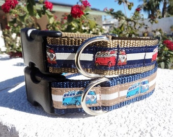 """Sale Dog Collar Red or Blue  Retro VW Bus 3/4"""" or 1"""" width Side Release buckle adjustable - upgrade to Martingale collar style"""