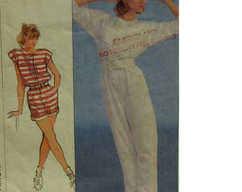 Womens Romper Pattern, Jumpsuit, Button Front, Short/Long Sleeves, Pockets, Roll-up Cuffs, Round Neck, Simplicity No. 8125 Size 10 12 14