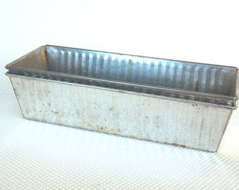 Set of 2 Vintage Long Steel Bread Pans Made in West Germany Ribbed Steel Long Loaf Pans West German Bakeware