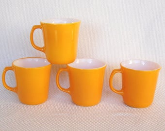 Set of 4 Vintage Pyrex Flared Mugs in Citrus Bright Sunflower Yellow Colored Vintage Mugs Excellent Condition Retro Diner Style