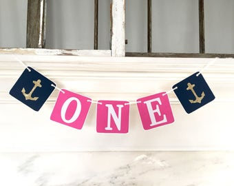 ONE Birthday Banner, Baby Girl Birthday, first birthday, pink and navy, Nautical banner, Birthday Girl, First Birthday Party, anchors