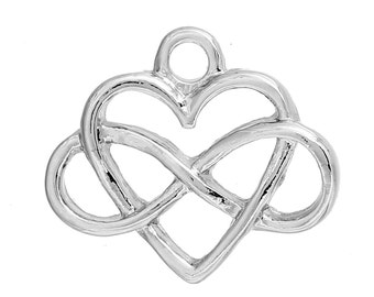 1 Silver Infinity Heart Pendant Charm 16mm
