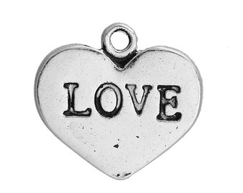 3 Silver Love Heart Pendant Charm 17mm