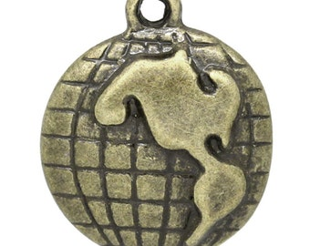 3 Antique Bronzer World Globe Mother Earth  Pendant Charm 23mm