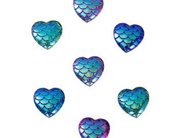 6 Mermaid Scales Multi Color Heart Cabochons 12mm