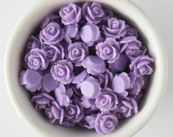 6 Piece Lavendar Purple 10mm Cabochon Rosette Flowers DIY Earrings Bobby Pins