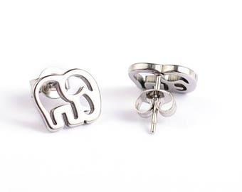 Elephant Stud Earrings Stainless Steel Setting As Seen On Jane.com