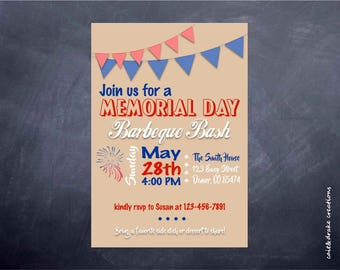 Memorial Day Barbeque Party Backyard Invitation Digital Printable!