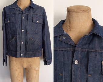 1970's Dark Wash Denim Jacket by Montgomery Ward Levi Vintage Jacket Size XL by Maebeery Vintage