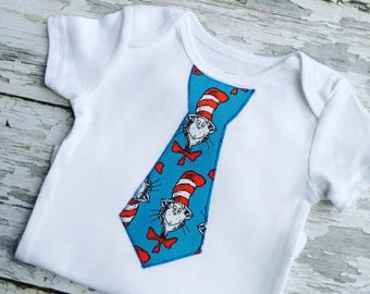 Cat In The Hat Baby Boy Tie Onesie