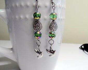 Green Dove Drop Earrings