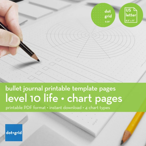 Level 10 Life Chart Layout Set Bullet Journal Printable