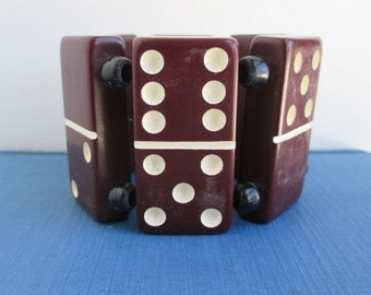 Vintage Handmade Domino Stretch Bracelet - Burgundy / Purple, Very Worn