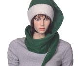 Custom Order for EZGreen Santa Hat Dark Forest Green Sherpa Headband 5 ft Long Stocking Cap Gothic Elf Cap Victorian Stocking Hat