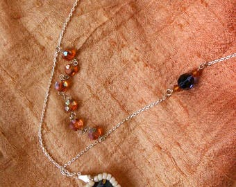 Dido Indigo and Orange Glass Bead Necklace
