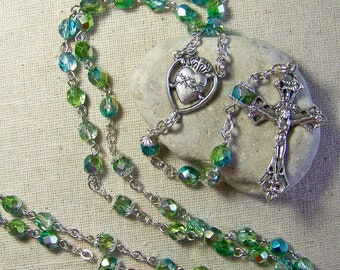 Catholic rosary with lime green and aqua metallic Czech glass beads in silver