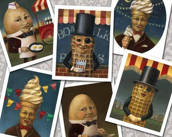 Retro Food Cards,  Vintage Food Icon Notecards, Mr. Peanut, Mr. Softee,  Humpty Dumply, Mid Cetury, Anthropomorphic Food,