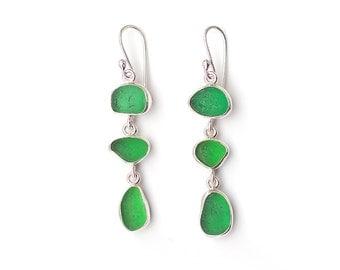 Bright Green Sea Glass Three Drop Silver Earrings Bezel Set