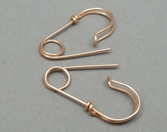 Solid 14K Rose Gold Tiny Safety Pin Earrings, Mini Safety Pin Earrings, Smaller Earrings, Earrings for Him, Earrings for Her