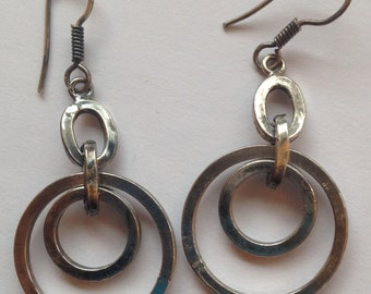 Sale  Vintage Silver Earrings Double Circles Thick Pierced