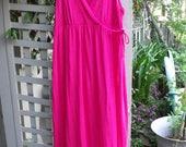 XL T-Shirt Knit Maxi/ Hot Pink Sundress/Cotton Plus Size Dress/ Shabbyfab Thrifted Summer Funwear