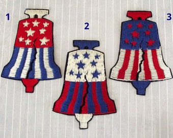 """Choose One Vintage Big 4.5"""" Sew On Liberty Bell Patch, Patriotic Bicentennial Applique, Stars Stripes, 4th July Collectible"""