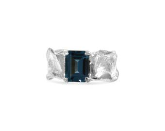 Emerald Cut London Blue Topaz Sterling Silver Ripple with Organic Textured Band Colored Gemstone Ring Size 6.5