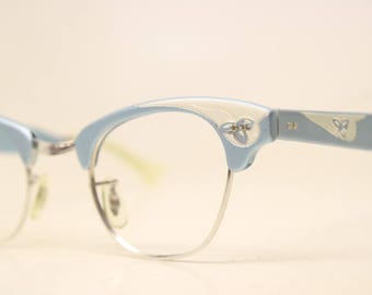 Small Unused Blue Aluminum cat eye eyeglasses 1/10 12k Gold Filled vintage cat eye glasses frames Cateye frames NOS