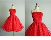 50's Prom Dress //  Vintage 1950's Strapless Red Ruffle Tulle Wedding Party Prom Dress S
