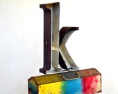 RESERVED Marquee Sign Letter Lowercase 'K': Large Metal Black & White Single Wall Hanging Initial -- Neon Channel Industrial Advertising