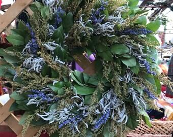 "18"" Lemon Leaf, Sweet Annie, Sage, Blue Salvia Wreath - dried flowers"