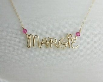 Disney Princess Necklace, Handcrafted Wire Name, Birthstone Crystals, 14k Gold Filled Disney Custom Name, April Birthstone, Jewelry Girls