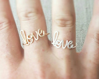 Love Ring, Girlfriend Gift, Friendship Gift, Ring Gift for Wife, Sterling Ring 14K Gold Ring, Bridesmaid Gift, Bride Gift, love theme gifts