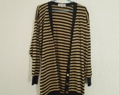Vintage JAEGER Gold and Navy Blue Cardigan/Jumper