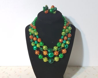 Vintage 3 Strand Green 1950's Necklace Earrings Set Vintage Bib Necklace orange and Green