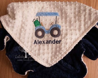Golf Cart Personalized Minky Baby Blanket, Golf Cart Minky Baby Blanket, Personalized Baby Boy Blanket, Personalized Baby Gift