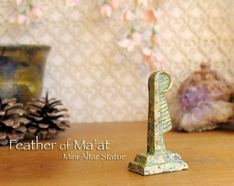 Feather of Ma'at Mini Altar Statue - Symbol of Goddess Ma'at -Feather of Truth -Handcrafted Polymer Clay Statue - Golden Brass Patina Finish