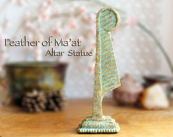 Feather of Ma'at Altar Statue - Symbol of Goddess Ma'at - Feather of Truth - Handcrafted Polymer Clay Statue with Golden Brass Patina Finish