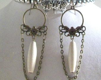 Dangle Earrings, Bronze Earrings, Ivory Biege Ceramic 3.5 Inch Earrings, Select Ear Wires