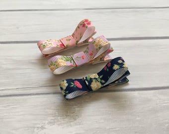 Flower hair clip, floral hair clip, flower clips, tuxedo hair clip, barrettes, mini hair bow, hair clip, toddler hair clip, hair clippies