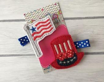 4th of July clip, patriotic hair clip, patriotic hair bow, hair clips, fourth of July, flag hair clip, toddler hair clip, baby hair clips