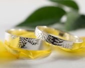 Ash Leaf Wedding Bands: A Set of his and hers Sterling silver Ash leaf textured wedding rings