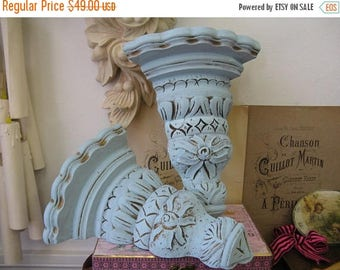 Wall Sconces Romantic Aged Nordic French Cottage Chic Corner Sconce Blue Gold