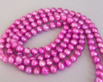 Fuchsia freshwater pearls, 6mm pink freshwater, magenta pearls, cerise, hot pink 16 inch strand