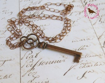 Long Antiqued Copper Skeleton Key Necklace, Long Boho Key, Long Copper Key Layering Necklace, Steampunk Key, by MagpieMadnessJewelry on Etsy